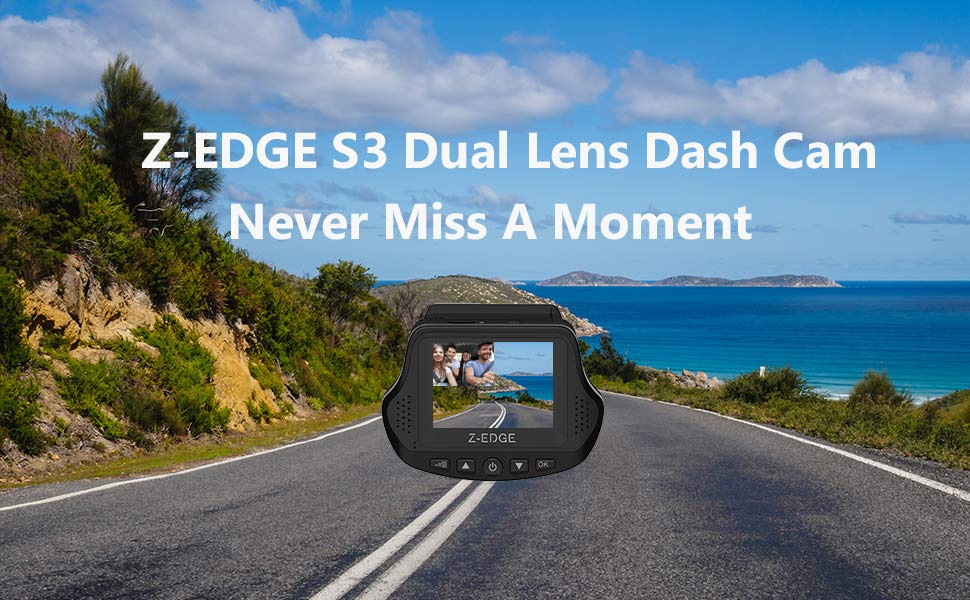 Dual Dash Cam, Z-EDGE S3 Ultra HD 1440P Front & 1080P Rear